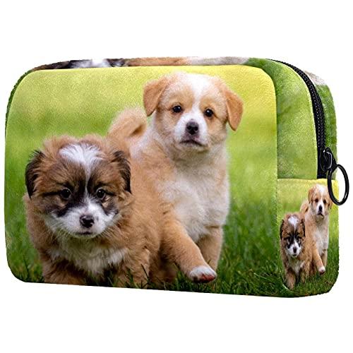 Bolsos de maquillaje de belleza portátil bolsa de cosméticos de viaje bolsa de cuero multifunción con cremallera bolsas de aseo para mujeres patrón de perro