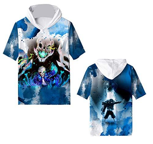 Undertale Sudaderas con Capucha Suave cómoda Top impresión Suave y Transpirable con Capucha Camiseta de Manga Corta para Niño y Niña Satchel (Color : A01, Size : XXL)