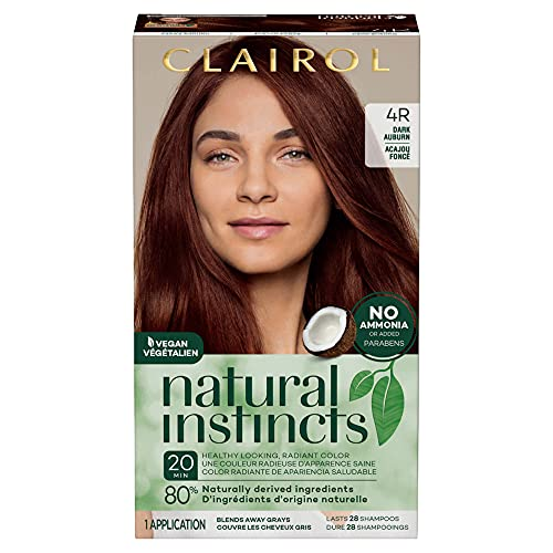 of home hair colours dec 2021 theres one clear winner Clairol Natural Instincts Semi-Permanent Hair Dye, 4R Dark Auburn Hair Color, 1 Count