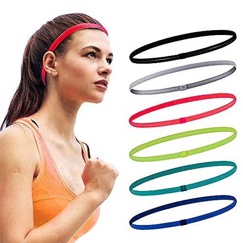 Jusduit Sport Stirnband Dünn,6 STK Antirutsch Elastische Stirnbänder für Herren und Damen,Sport Haarband Dünn für Erwachsene,Kinder,Yoga,Laufen,Wandern,Fahrrad,Tennisbälle