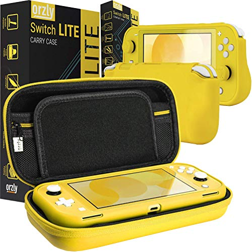 Orzly Carry Case and Comfort Grip in Yellow for Switch Lite - Bundle
