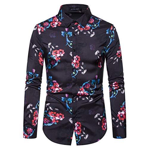 luoluo Hawaiihemd heren lange mouwen hemd Geblofte mannen vrijetijdshemd slim fit bovenstuk herfst shirt met lange mouwen tops smokinghemd