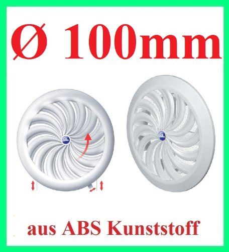 Lüftungsgitter Abschlussgitter Insektenschutz rund Ø 100mm weiß ABS Lüfter T95