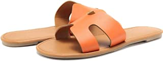 CROTI Flat Sandals for Womens Slides Open Toe Slip On Shoes for Summer Greece Sandal Casual Cutout H Slippers