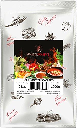Angebot des Monats - Spareribs - Gewürzmischung, traditionelles US - amerikanisches Grill und Bratgewürz, Grillmeister Edition. Beutel 1000g.(1KG)