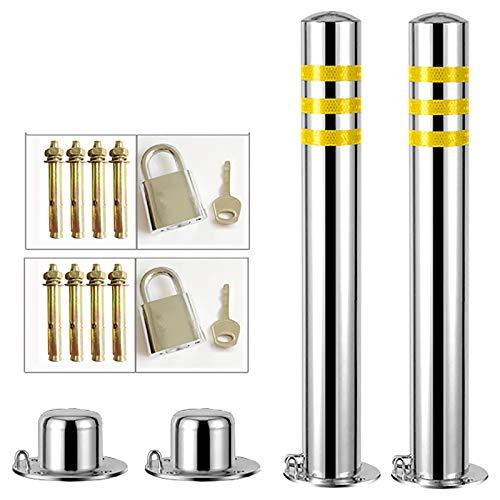 SYJH 2er-Pack Poller absperrpfosten mit Band Sicherheitspfosten Aus Edelstahl Für Einfahrten, Verhindern Von Rost, Einfache Installation(Size:600mm×76mm)