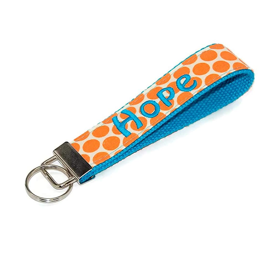 Orange Polka Dot Keychain Personalized Key Fob with Your Choice of Name in Turquoise Blue Free Shipping zhojolf663878
