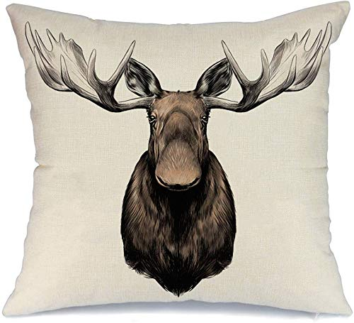 Decorative Linen Throw Pillow Cover Case Elk Drawing Big Head Color Alone Pattern Animals Wildlife Isolated Male Wild Nature Stuffed Sketch Square Cushion Pillowcase for Couch Bed 20 x 20 Inch