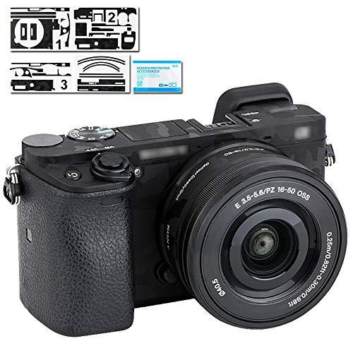 Adhesivo Protector para Lente de cámara Sony A6100, A6300, A6400 + 16-50 mm Kits de Lentes, cámara réflex Digital 3M Pegatinas antiarañazos Camuflaje Sombra Negro calcomanías Escudo