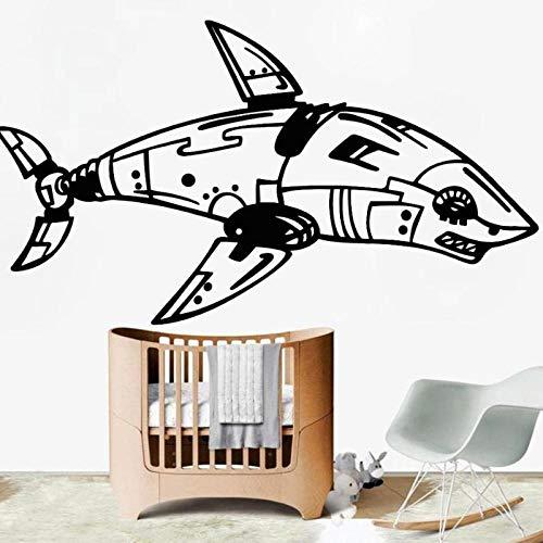 KBIASD Dangerous Cyber Robot Wall Sticker for OfficeIron Steampunk Shark Vinyl Wall Decal for Teen Room Modern Home Decoration 57x100cm