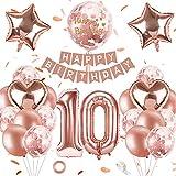 SPECOOL 10er Anniversaire Ballon Fille Or Rose,10 Ans Parti Décoration avec bannière,Ballons Confettis Métalliques Or Rose,Ballons Anniversaire Femme, Rose Golden Ballons Anniversaire avec Chiffre 10