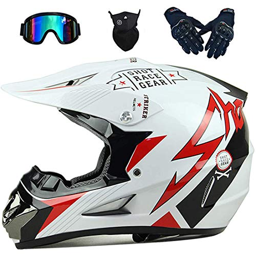 Motocross Helmet, Children's Off-Road Motorcycle Helmet with Goggles Gloves Mask, Unisex Crash Helmet, Motorbike Helmet Mountain Bike Helmet