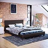Vida Designs Lisbon Double Bed, 4ft6 Bed Frame Upholstered UKFR Faux Leather Headboard Low Foot End Bedroom Furniture, Brown