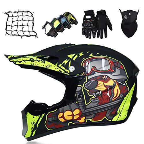 Casco Motocross Niño Negro Mate Amarillo Cascos Integral Enduro para Mujer Hombre Cascos de Cross de Moto Infantiles Set con Gafas/Máscara/Red Elástica/Guantes
