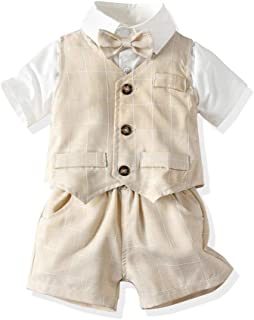 Joycebaby Toddler Baby Boys Gentleman Short Suit 3Pcs Vest Shirt and Pant Set