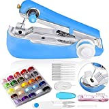 40 Pieces Portable Handheld Sewing Machine Set, Include Mini Manual Sewing Machine, 25