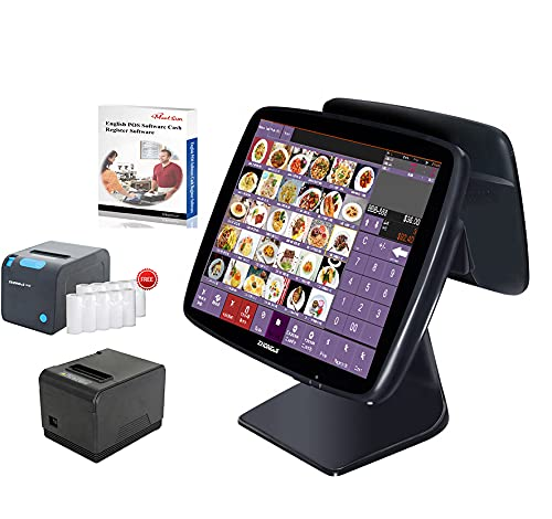 MEETSUN All in One POS System Cash Register Windows Electronic Touch Terminal Receipt Printer for Restaurant&Bar SET03