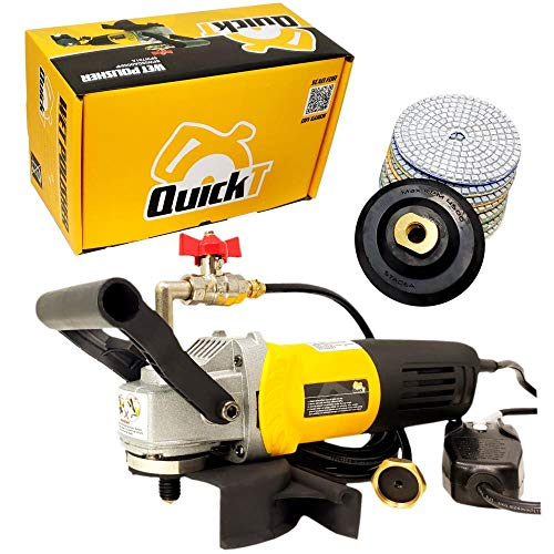 """QuickT SPW702A Concrete Countertop Wet Polisher Variable Speed Grinder Sander Granite Stone Polisher Polishing Fabrication Tools Kit - 4"""" Diamond Polishing Pads for Concrete Granite Marble Tile Polish"""