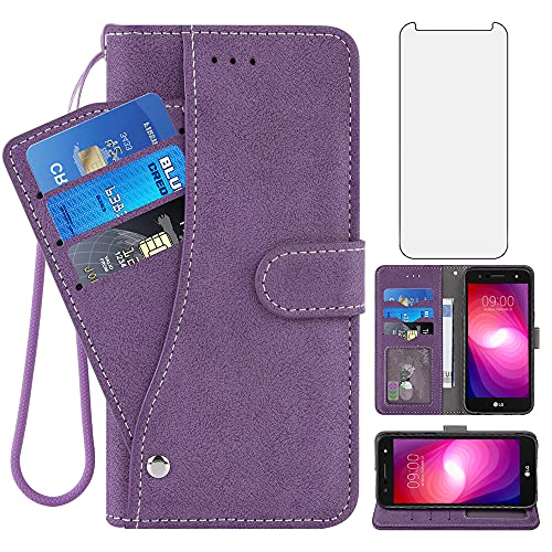 Compatible with LG X Charge/Fiesta 2 LTE/X Power 2/X5/LV7 Wallet Case and Tempered Glass Screen Protector Flip Cover Card Holder Cell Phone Cases for LG-M322 XPower 3 SP320 M327 M322 Women Men Purple