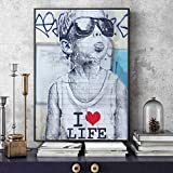 Geiqianjiumai Arte Moderno de la Calle Impresiones en Lienzo Love Life Wall Boy Poster e Impresiones Graffiti Wall Art Picture Lienzo Pintura hogar decoración de la Pared Pintura sin Marco 20x30cm