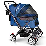 WONDERFOLD P1 Folding Pet Stroller Wagon for Dogs/Cats with 4 Wheels, Zipperless Entry, Storage Basket, and Cup Holder (Midnight Blue)