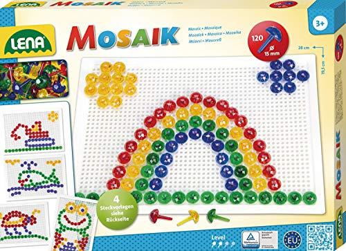 Lena 35607 - Mosaik Steckspiel Set mit 120 transparent farbigen Mosaikstecker, je 15 mm und Stiftplatte 28 x 19,5 cm, Steckmosaik für Kinder ab 3 Jahre, mit Steckvorlagen Tiere, Blumen und Fahrzeuge