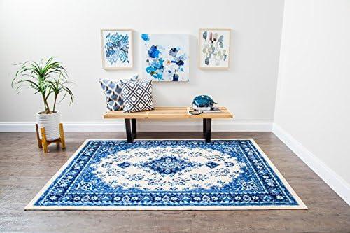 Anji Mountain Persian Kashan Medallion Area Rug 5 x 7 Feet Blue product image