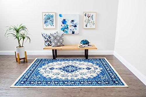 Anji Mountain Persian Kashan Medallion Area Rug, 5 x 7-Feet, Blue
