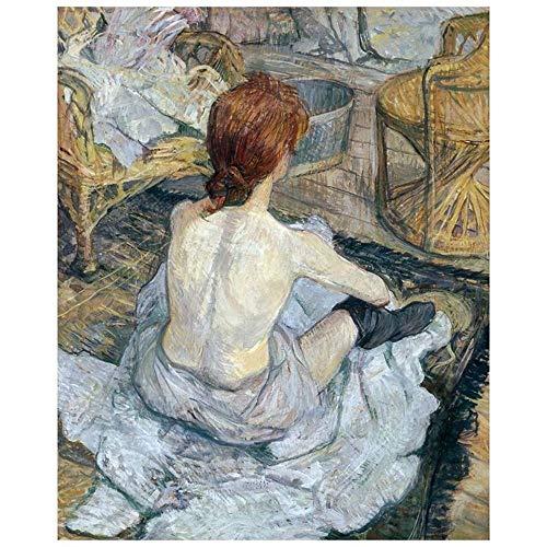LegendArte Henri de Toulouse-Lautrec La Toilette Stampa su Tela, cm. 60x75 - Quadro su Tela, Decorazione Parete