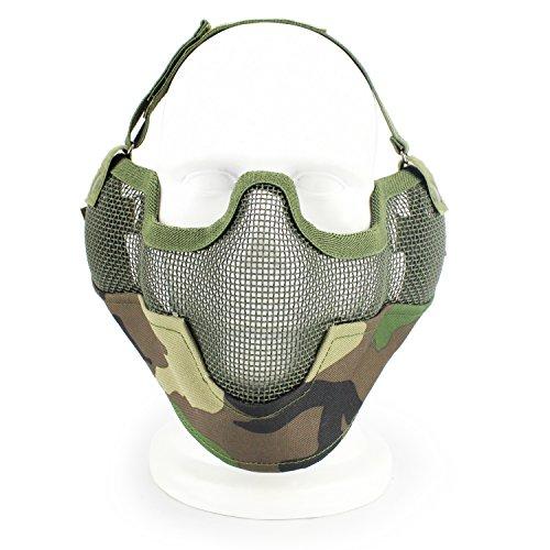 XUE Taktische Airsoft Schutz und Mesh Metall Halbe Gesicht Maske für Jagd Halloween Paintball (Woodland)