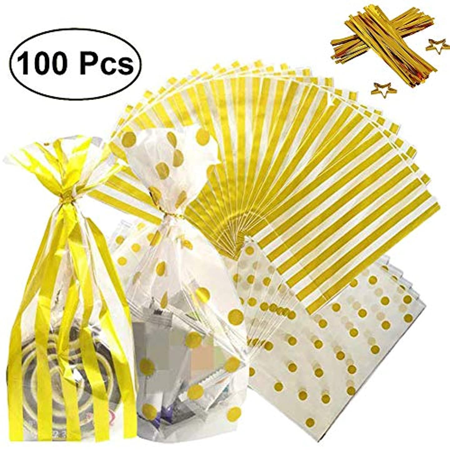 100 Pack Gold Striped and Gold Polka Dot Plastic Packaging Bags with 200 Pieces Twist Ties, 6×10 inch Clear Plastic Treat Bags for Candy Cookie Snack, Cello Party Wrapping Bags