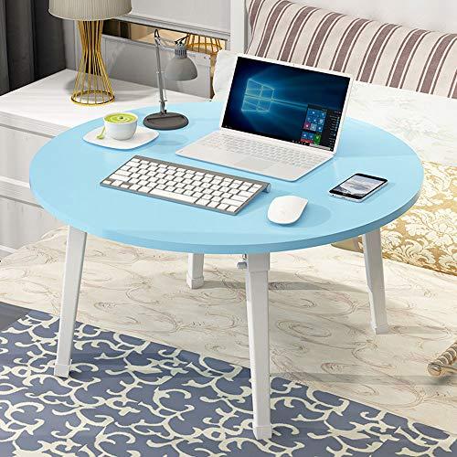 KKDWJ Laptop-Schreibtisch, Holz Notebook Schreibtisch für Bett, mit Fuss-Auflage und faltbares Design, für Schlaf Schlafzimmer und Wohnzimmer,Blau