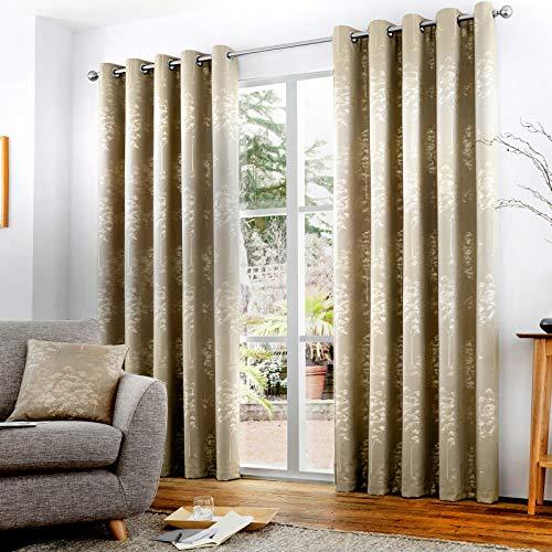 HLS Bedding Par de cortinas con ojales, diseño floral abstracto de Elmwood, con forro Jacquard, listo para usar, 116,8 x 182,8 cm