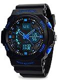 VDSOW Kinder und Jugendliche Analog-Digital Quarz Uhr mit Schwarz Silikon Armband 5 ATM wasserdichte Kinderuhren Sports Armbanduhr mit Dual Time/Alarm/Chime stündliches für Jungen