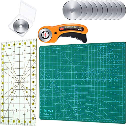 Rotary Cutter Set, 45 mm Rotary Cutter Round Fabric Cutter with 12 Pieces 45 mm Rotary Cutter Blade, Rotary Cutting Mat and Quilting Ruler for Patchwork Quilting Sewing DIY Craft, 15 Pieces in Total