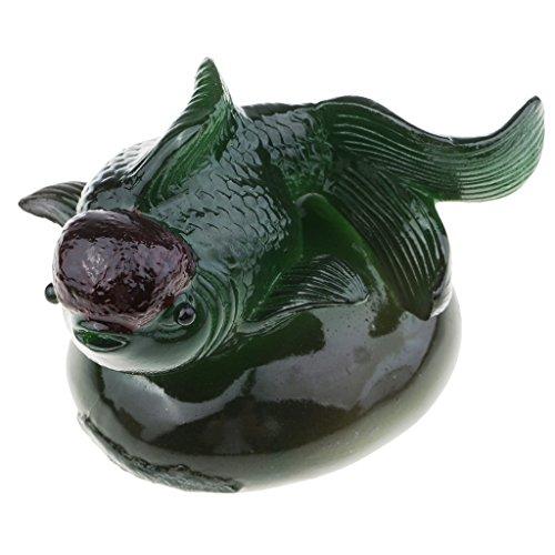 MagiDeal Statue Poisson Photogris en Résine Tea Pet Figurine Exquise Porte Bonheur pour Collection - 80 x 70 x 45 mm - Vert