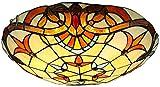 DALUXE Plafón De Estilo Tiffany, Semicirculares Lámparas De Techo De Cristal Tintado Instalados En El Estilo Barroco, Techo Decorativo con Sombra Redonda para La Vida