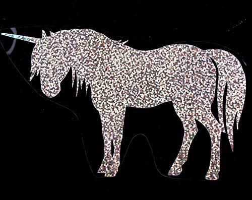 Bügelbild, Motiv: Einhorn, Farbe: silber-regenbogen, Größe: 18x10,5cm, heißsiegelfähige Flexfolie