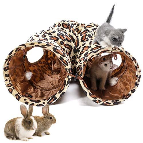 LeerKing Katzentunnel Katzenspielzeug Faltbar Spieltunnel Knisternder Rascheltunnel für alle Katzen und kleine Tiere 2 Höhlen 130 * 25cm