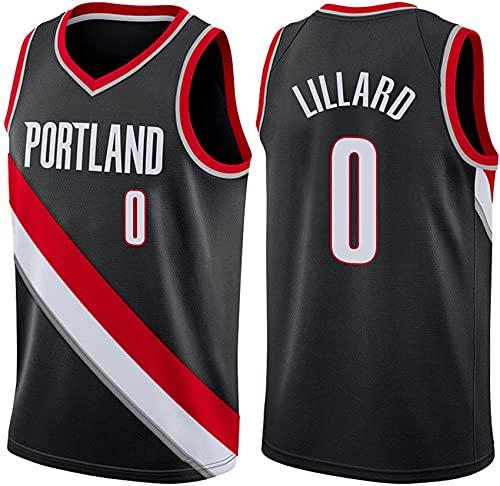 Brasetes De Baloncesto De Los Hombres Portland Trail Blazers # 0 Uniforme De Baloncesto, Nueva Temporada Camisetas Sin Mangas T-Shirts Bordado Swingman Jersey,Negro,S