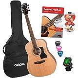 CASCHA Jeu de guitare acoustique pour débutants avec Livre de texte, accordeur, gigbag/bag, 3 pics, dreadnought, guitare acoustique occidentale, cordes en acier