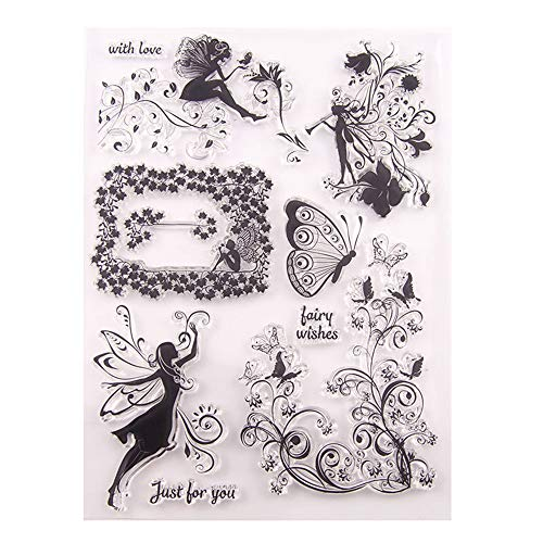 Fairy Wishes Butterfly Magical Fairy Swirls Clear Stamps for Christmas Cards Making Decoration and Scrapbooking Rubber Stamps for Craft