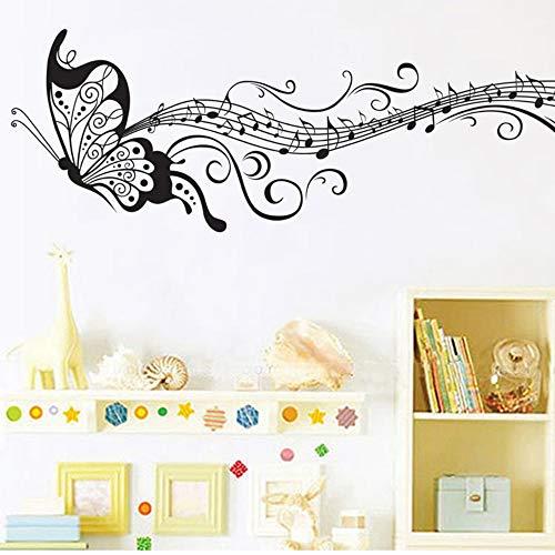 Negro música mariposa decoración de la pared Stave Note pegatinas de pared Pvc tatuajes de pared/vinilo adhesivo decoración del hogar para niños habitación extraíble