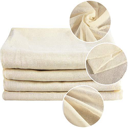 4 Stücke Käsetuch Passiertuch Filtertuch Filter Cloth Knödeltuch Siebtuch Baumwolle von Wein Bier, Dämpfen, Obst und Milch Backen (19,7 x 19,7 Zoll/ 50 x 50 cm)