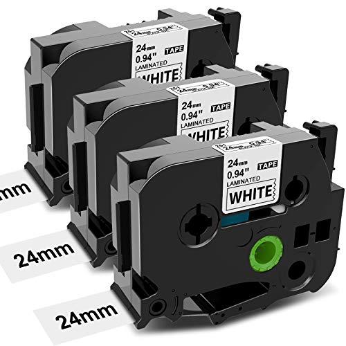 3x MarkField kompatible Schriftband für Brother P touch Label Maker TZ TZe-251 24mm x 8m laminierte Kassette für Etikettendrucker PT-P700 D450 D600 P750W P900W P910BT P900 Schwarz auf Weiß