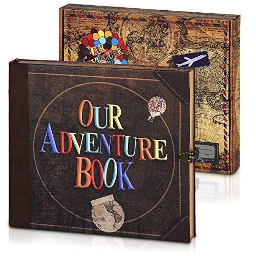 GRT Our DIY Adventure Book Anniversary Album Scrapbook 8,66 x 7,67 pulgadas 148p con marcadores de bricolaje, tarjetas (patrón de letras)