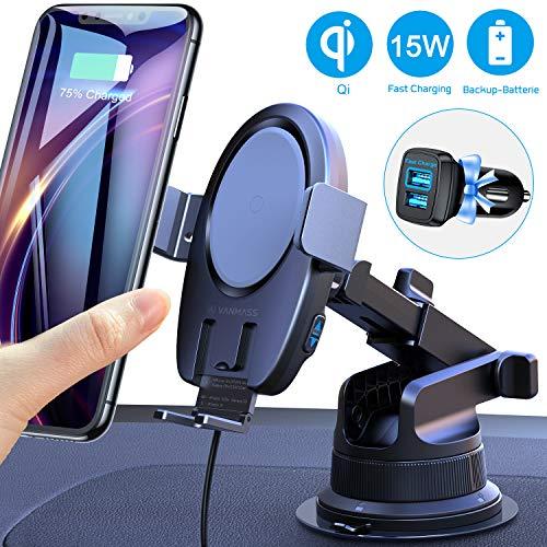 VANMASS 15W Fast Wireless Charger Auto Handyhalterung Automatischer Motor Betrieb Qi Ladestation Handyhalter fürs Auto mit Lüftungsclip&Saugnapf Induktives Ladegerät für iPhone Samsung&Alle Qi Geräte