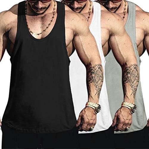COOFANDY Tank Top Herren Sommer Sport Ärmellos Gym Muskelshirts Fitness Trainingsshirt Männer Tanktop (Weiß+Schwarz+Grau M,3er Pack)