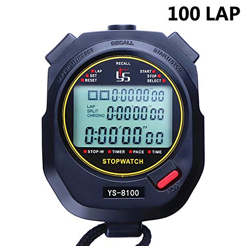 Jeffwell Sports Stopwatch Timer 100 Lap Split Memory Digital Stopwatch, Countdown Timer Pace Mode 12/24 Hour Clock Calendar with Alarm, 3 Rows Display Large Screen Water Resistant Battery Included