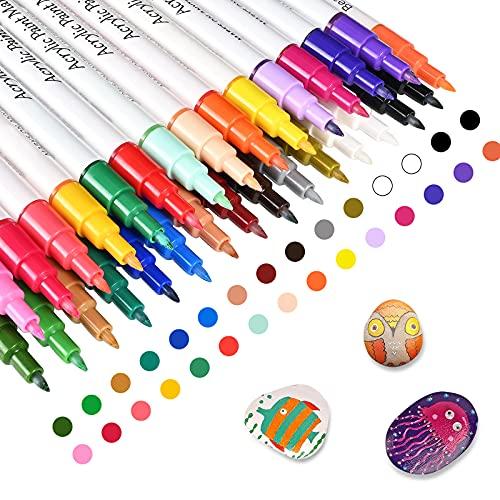 Acrylstifte für Steine, 30 Farben Bemalen stifte, Ungiftig Schnelltrocknend Acrylstifte Marker...